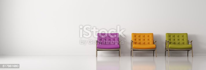 istock Multicolored armchairs against of white wall  panorama 3d rendering 517961680