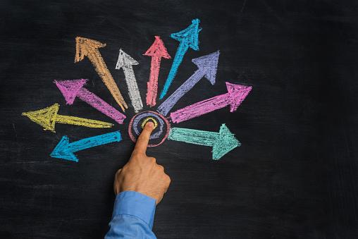istock multicolored arrows drawn on blackboard 489120116