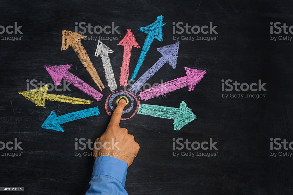 multicolored arrows drawn on blackboard bildbanksfoto