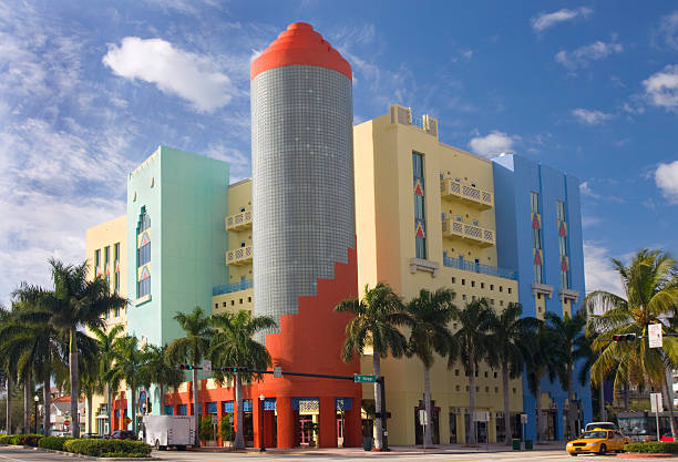 Multicolored Art Deco Building, Miami Beach stock photo
