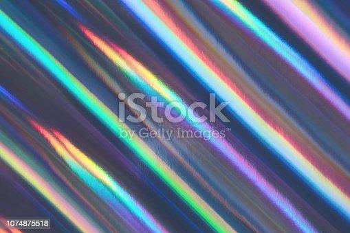 istock Multicolored background imitating hologram as trendy backdrop. 1074875518