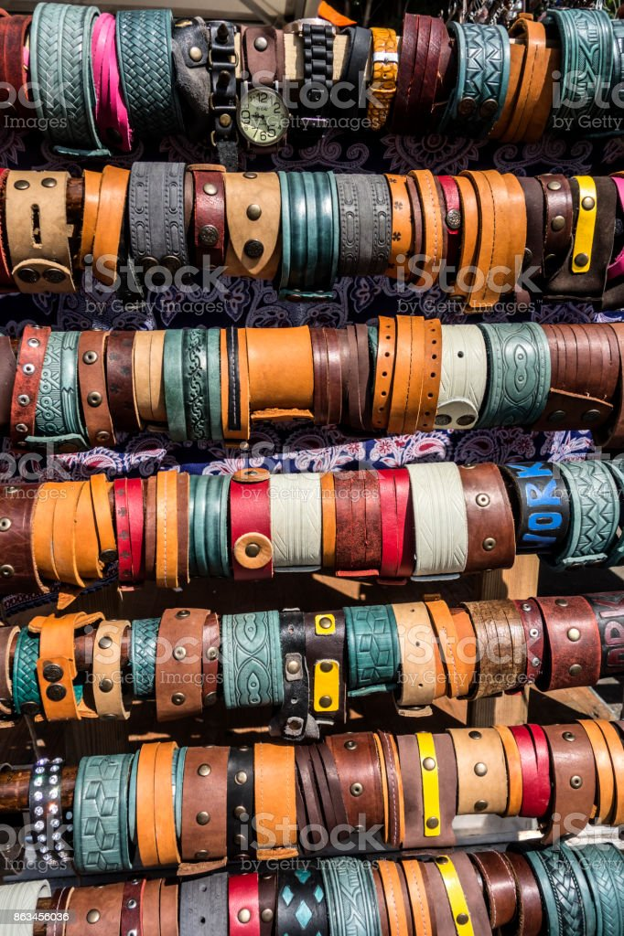 Multicolored background of watch straps stock photo