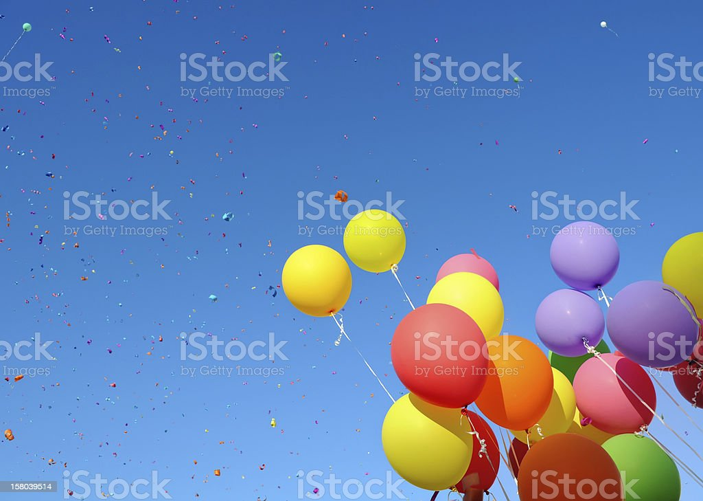 Multicolored balloons in the sky stock photo