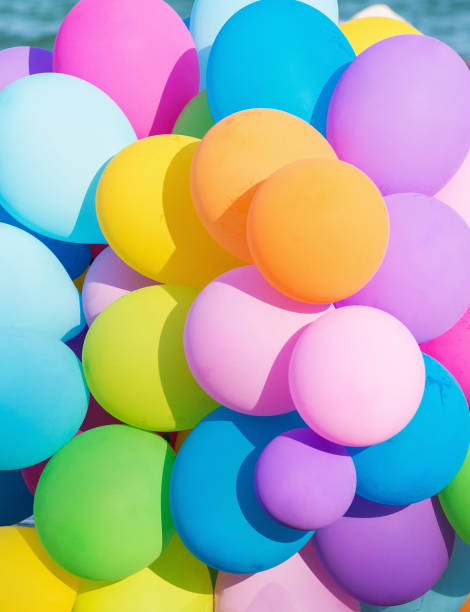 multicolored balloon's - circus background stock photos and pictures