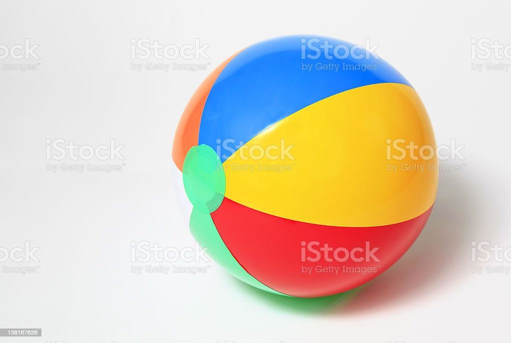 Multicolored beach ball isolated on white stock photo