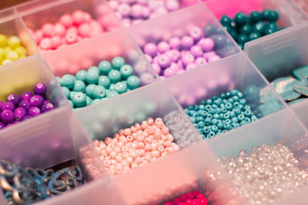 Multicolored beads stock photo