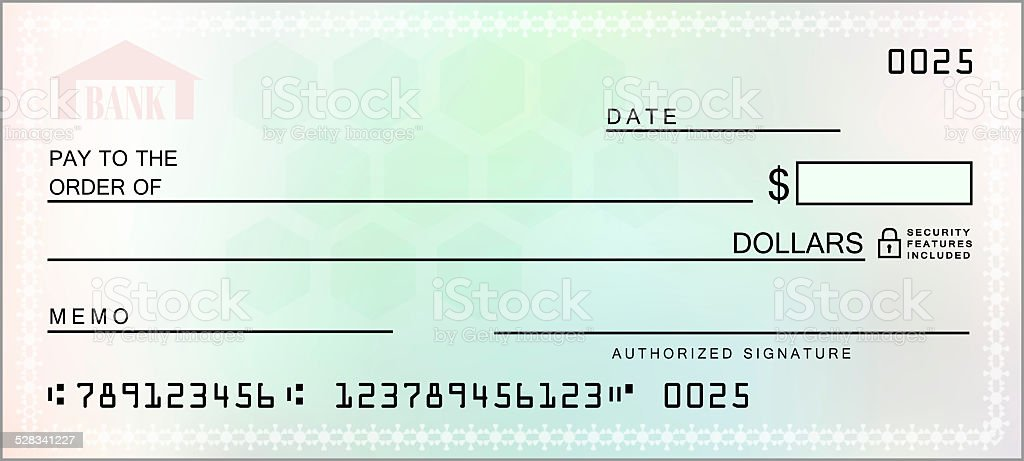 Multicolored Blank Check stock photo
