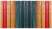 istock ANTIQUE Multi-colored bookbinding of books. 1086462786