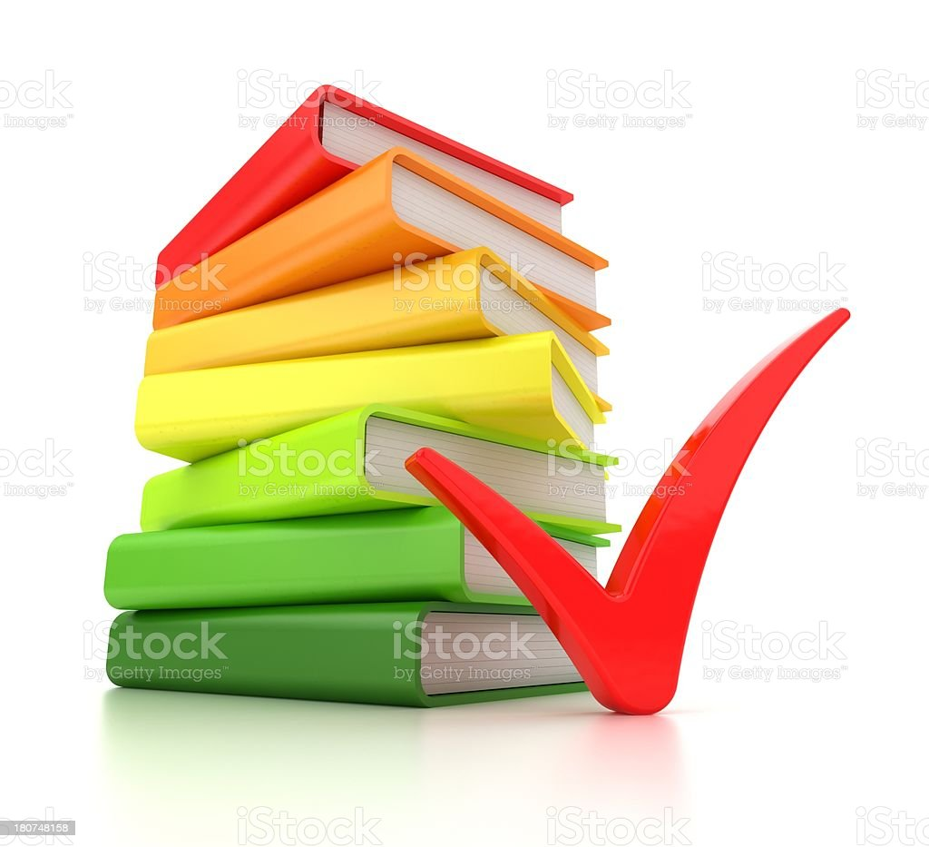 multicolored books and red checkmark royalty-free stock photo