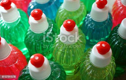 istock Multicolored bottles 810791578