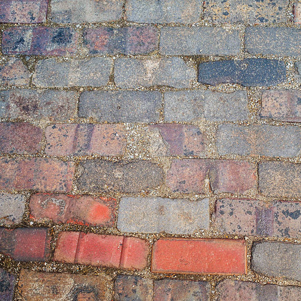 Multicolored brick abstract background texture square stock photo