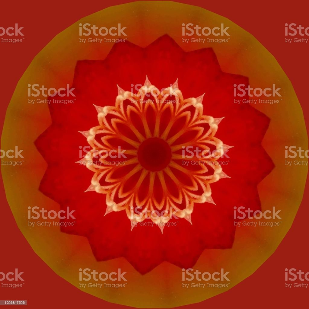Multicolored, bright, gold and shades of red mandala with intricate Indian pattern with red background. stock photo