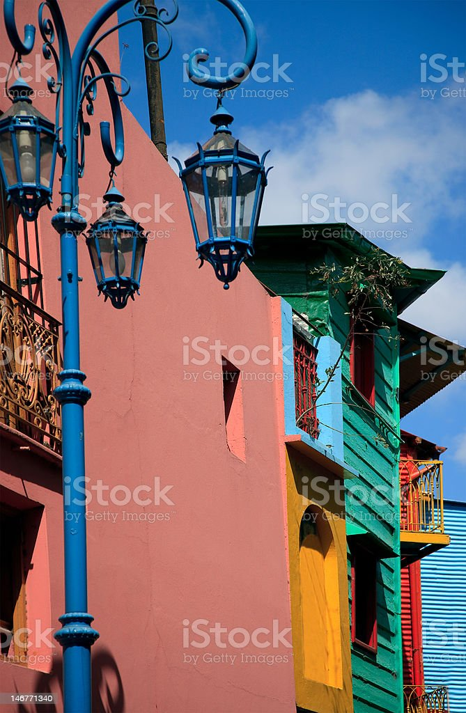 Multicolored buildings from La Boca, Argentina stock photo