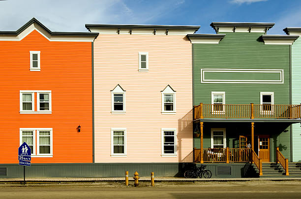 Multicolored buildings in Dawson City stock photo