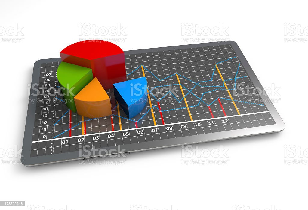 3D multi-colored business growth graph on white background stock photo