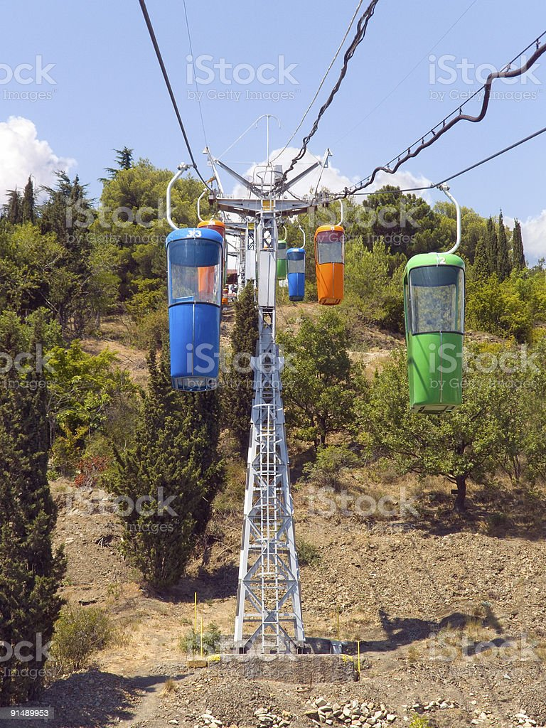 Multicolored cabins of cable railway royalty-free stock photo