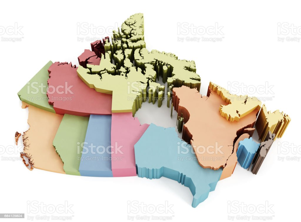 Multi-colored Canada map showing geographical regions stock photo