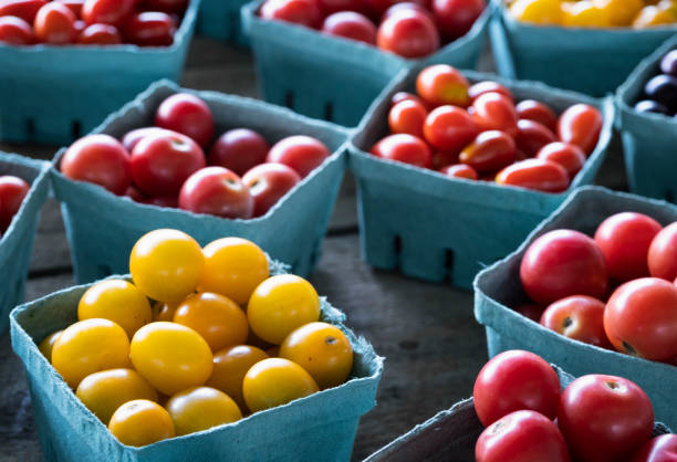 Multi-colored Cherry Tomatoes at the Farmer's Market stock photo