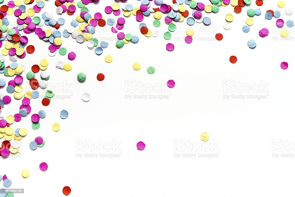 Multicolored circle paper confetti isolated on white background stock photo