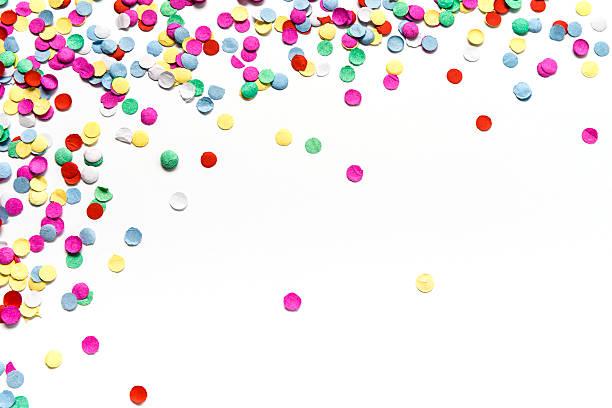 multicolore del cerchio carta coriandoli isolato su sfondo bianco - coriandoli e stelle filanti foto e immagini stock