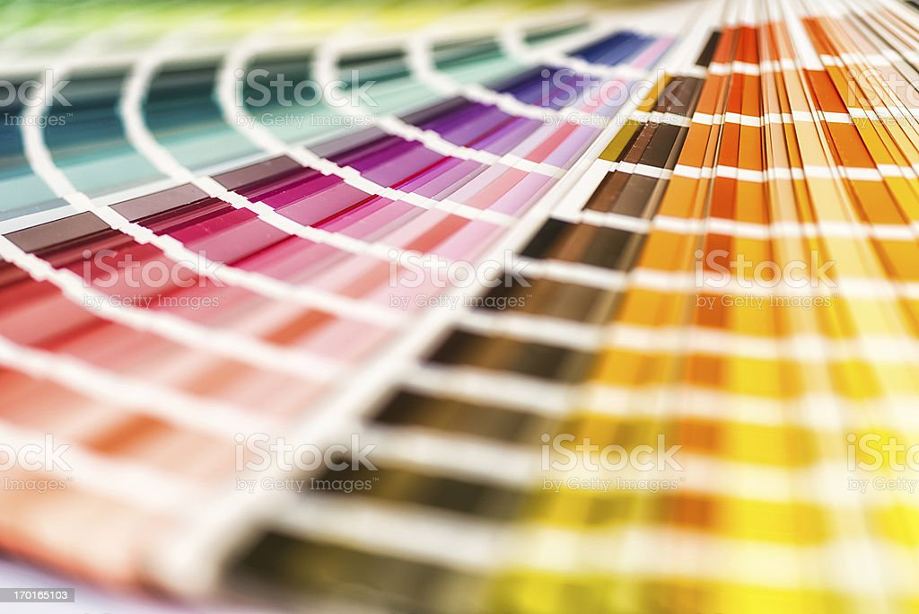 Multicolored color swatches fanned out for viewing stock photo