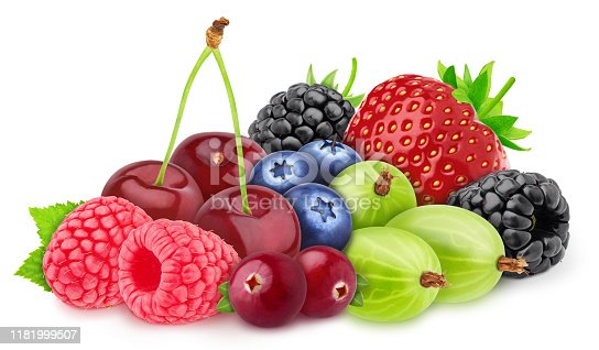 827935944 istock photo Multicolored composition with assortment of berries isolated on a white background with clipping path. 1181999507