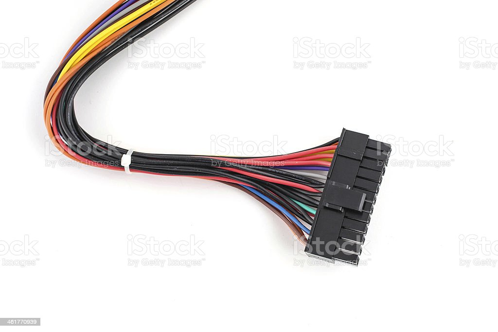 Multicolored computer cable isolated on white background stock photo