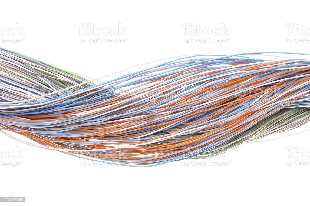 Multicolored computer network cable stock photo