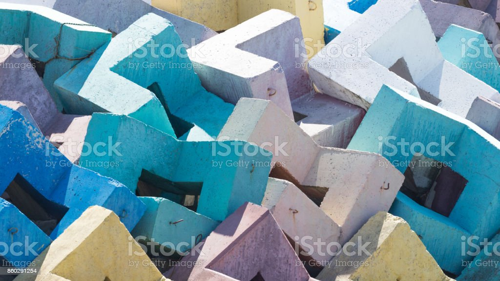 Multi-colored concrete blocks stock photo