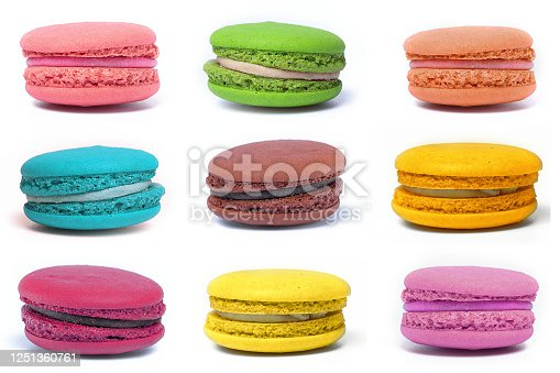 istock multicolored  confectionery macaroons on a white background 1251360761
