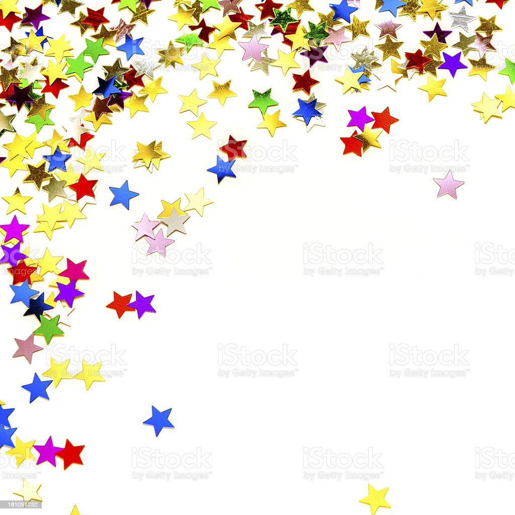 Multicolored confetti in stars shape, isolated on white royalty-free stock photo