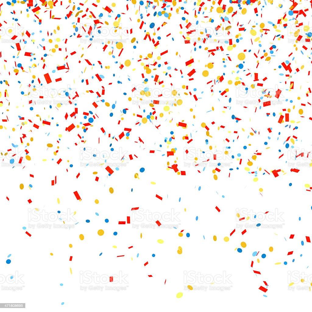 Multicolored confetti on a white background stock photo