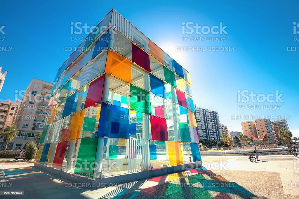 Multicolored cube of museum Pompidou centre in Malaga, Spain stock photo