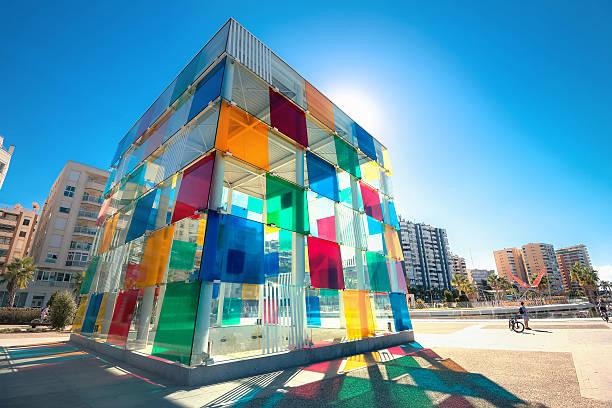 Multicolored cube of museum Pompidou centre in Malaga, Spain - foto de stock