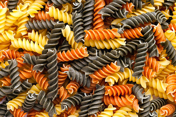 Multicolored Curly Pasta Endless stock photo