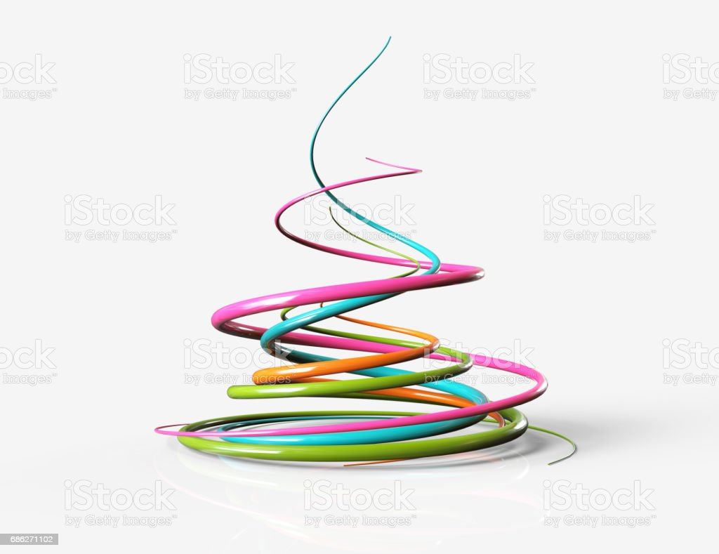 multicolored curves, abstract graphics stock photo