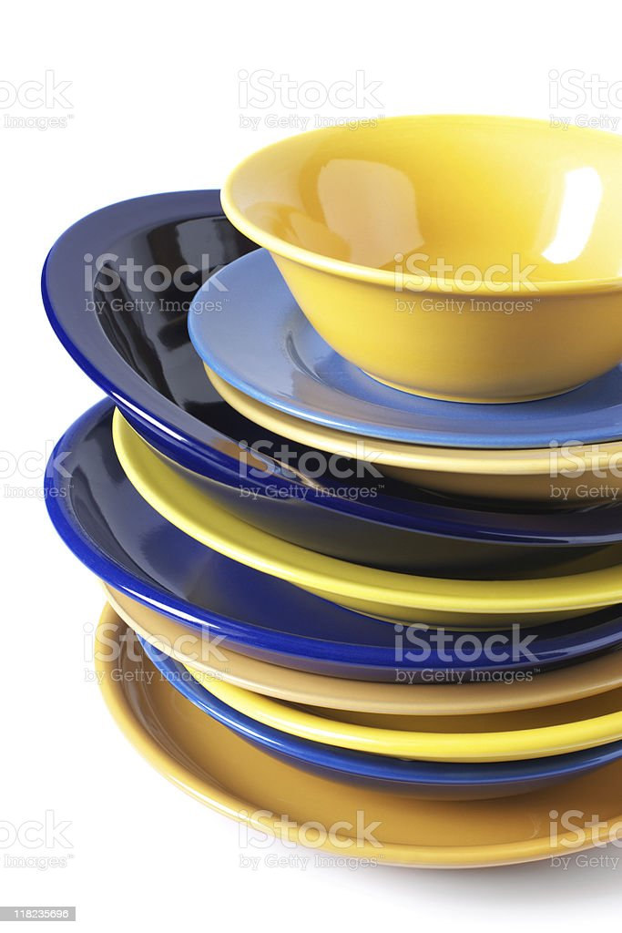 Multicolored dishware royalty-free stock photo