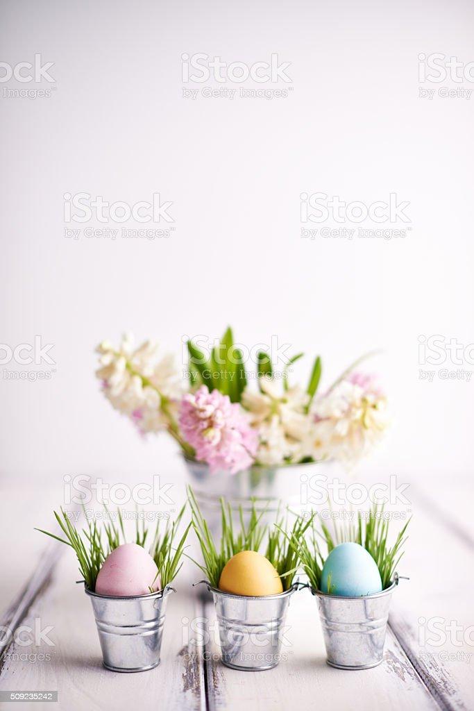 Multi-colored Easter symbols stock photo