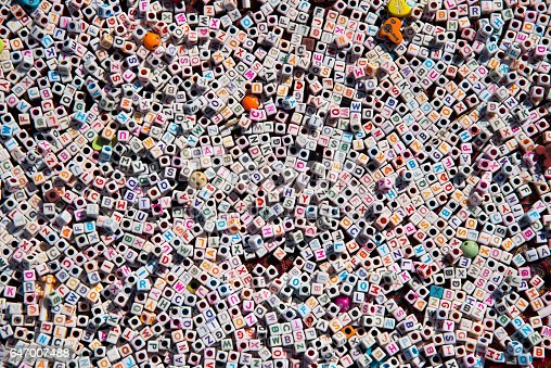 istock Multi-colored English alphabet beads background. 647007488