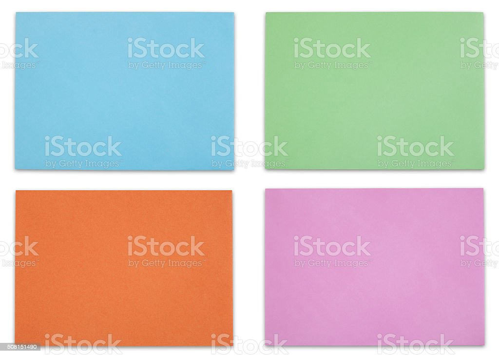 Multicolored envelopes stock photo