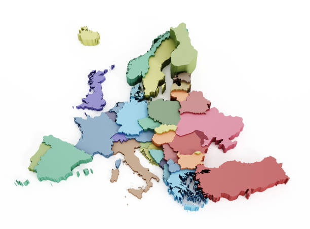 multi-colored european union map - continent geographic area stock photos and pictures
