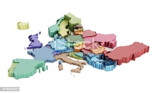 istock Multi-colored European Union map 679360820