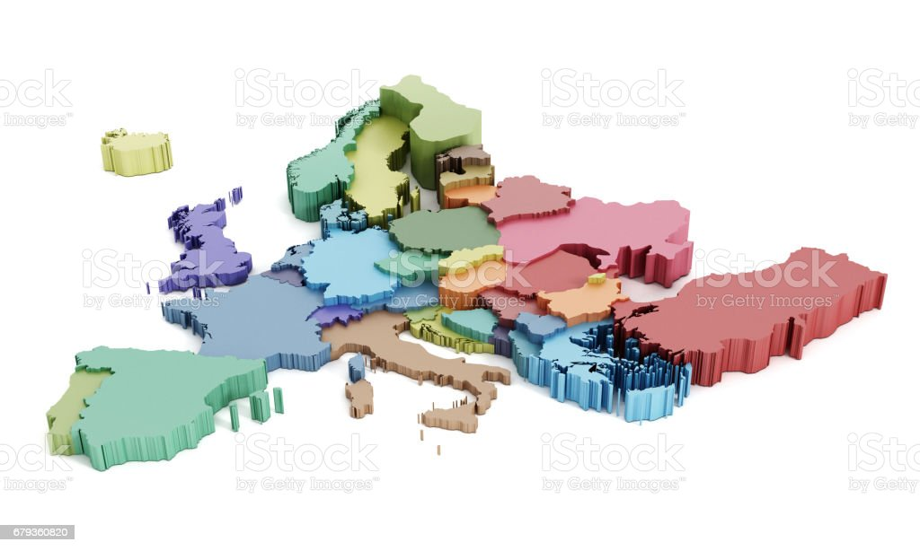 Multi-colored European Union map stock photo