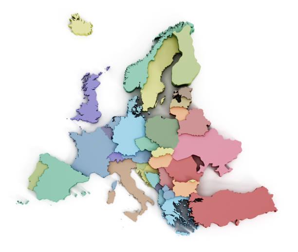 mehrfarbige karte der europäischen union - ec karte stock-fotos und bilder
