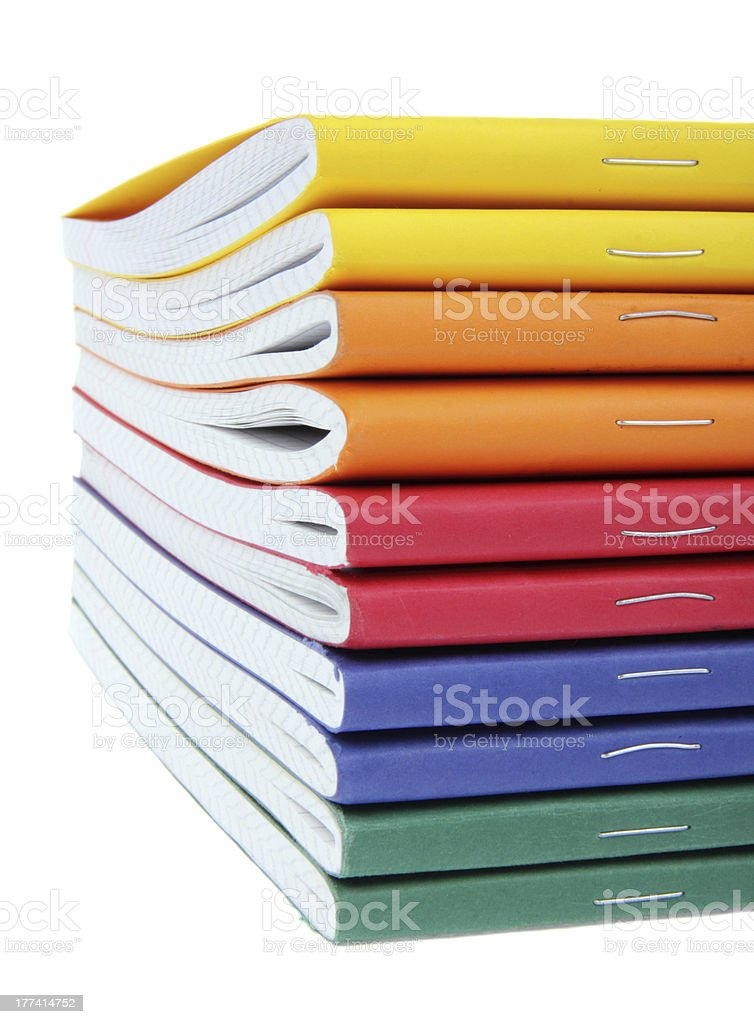 multicolored exercise books stock photo