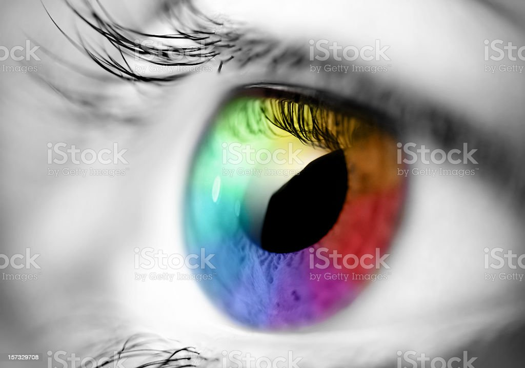 multicolored eye macro stock photo
