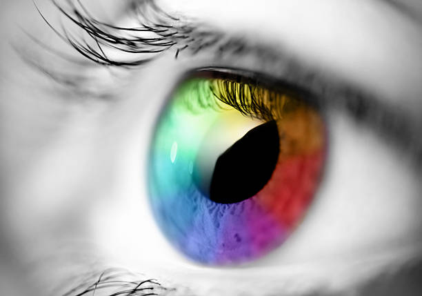 multicolored eye macro - spectrum stock pictures, royalty-free photos & images