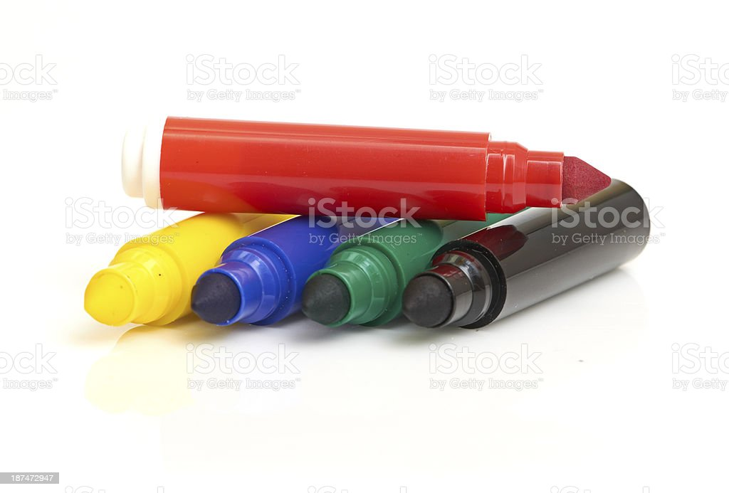 Multicolored Felt-Tip Pens  isolated on white background royalty-free stock photo