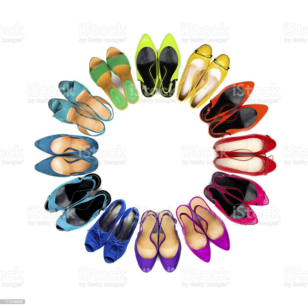 Multicolored female shoes frame stock photo
