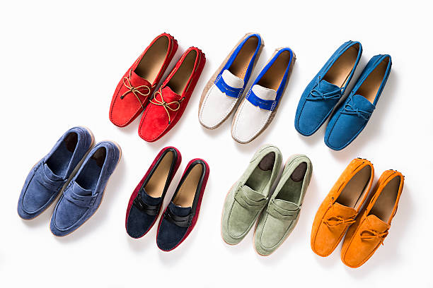 multicolored female shoes - flat shoe stock pictures, royalty-free photos & images
